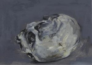 Stilleven in olieverf, schedel in grijstinten en geel wit. peseelstreken goed zichtbaar