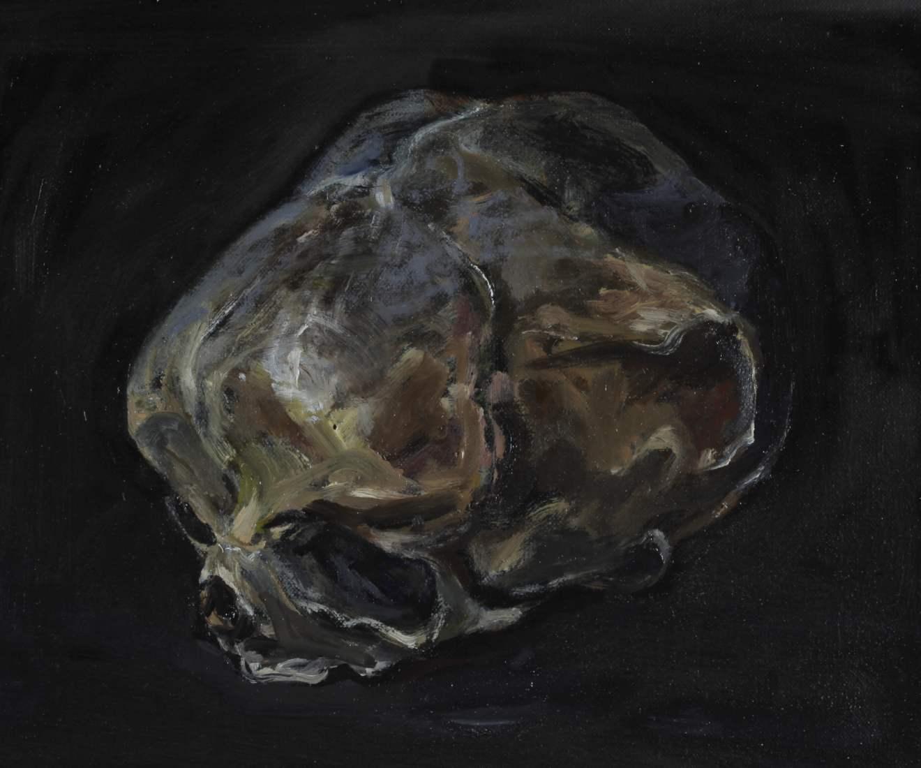 Schilderij van de schedel van een kind clair obscur klein olieverf op linnen Paul Legeland
