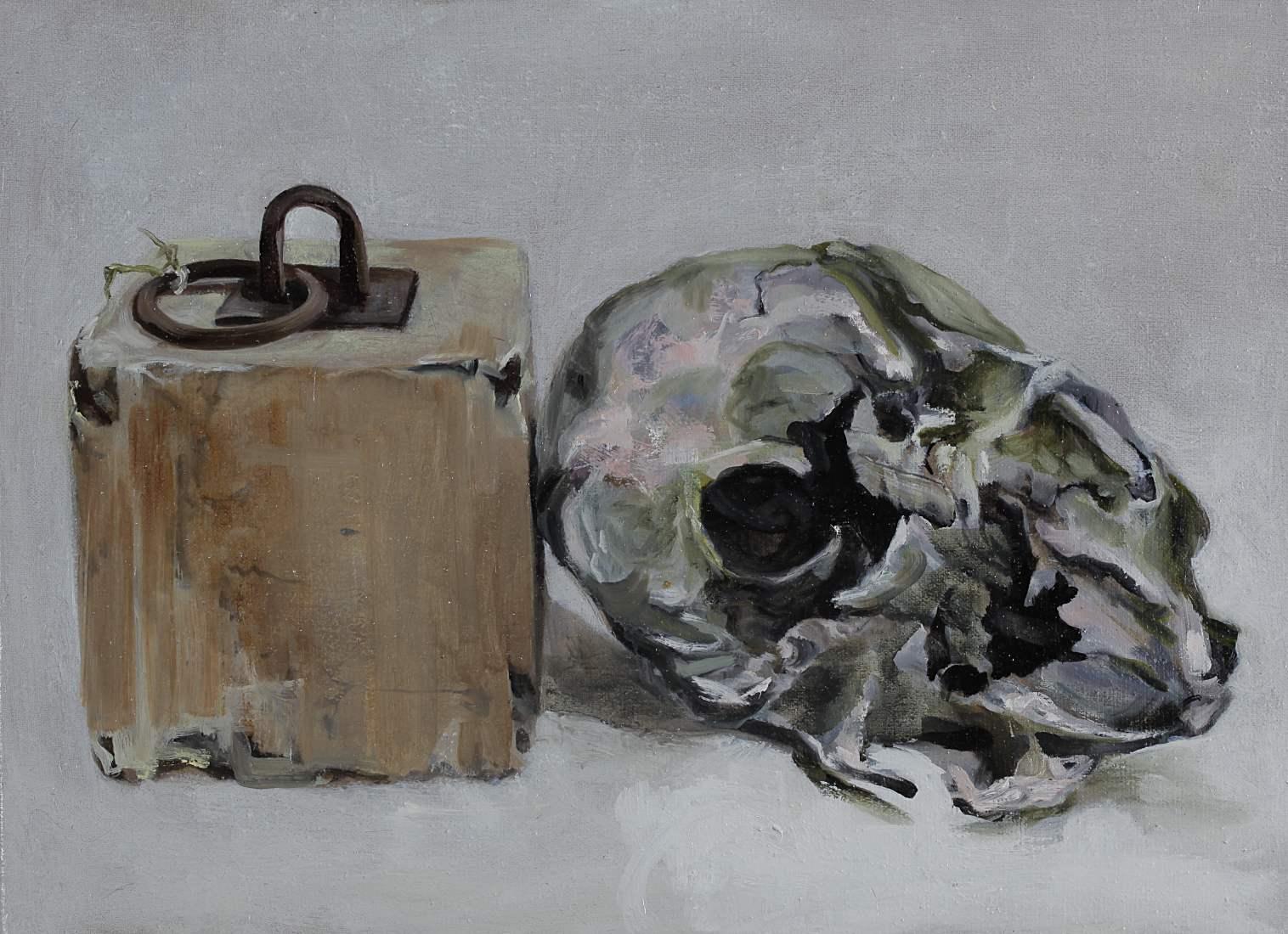 Stilleven olieverf op linnen schedel en blok eerste 30 x 50 cm