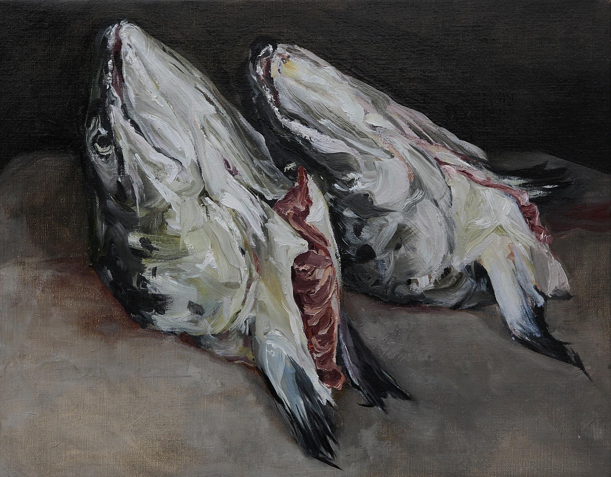 Stilleven met twee zalmkoppen, olieverf op linnen 40 x 50 cm, Stillife with two salmonheads